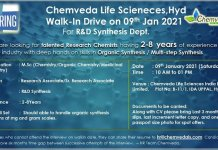 Chemveda Life Sciences WalkIn Drive for R and D Synthesis Department on 9th Jan 2021