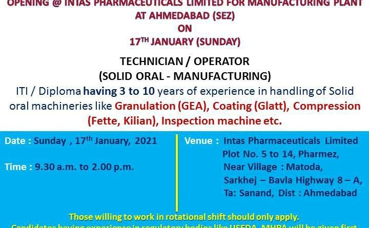 Intas Pharma Limited WalkIn Interviews for Production on 17th Jan 2021