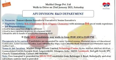 Maithri Drugs Pvt LtdWalkIn Drive for Freshers and Experienced Executives Senior Executives on 23rd Jan 2021