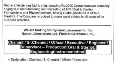 Nectar Lifesciences Ltd WalkIn Interviews for Chemist Sr Chemist Officer Production Engineering Departments on 9th and 10th Jan 2021