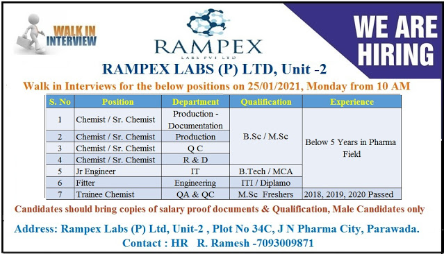 RAMPEX LABS P LTD WalkIn Interviews for Freshers and Experienced in QA QC Production R and D IT Engineering Departments on 25th Jan 2021
