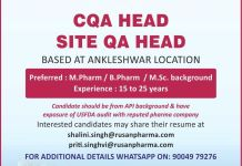 Rusan Pharma Limited Urgent Hiring for CQA HEAD SITE QA HEAD Apply Now