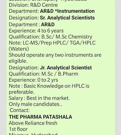 SS Bioanalytics Pvt Ltd Urgent Requirement for Freshers and Experienced Candidates AR and D Department