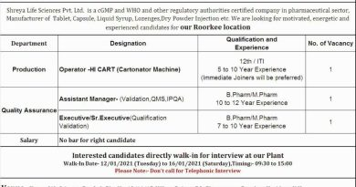 Shreya Life Sciences Pvt WalkIn Interviews for Production Quality Control on 12th to 16th Jan 2021
