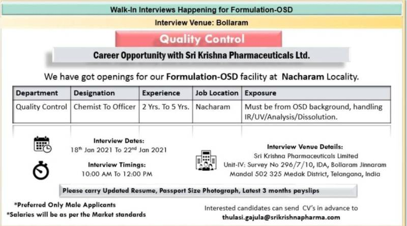 Sri krishna Pharmaceuticals Ltd Walk in drive on 18th to 23rd jan 2021 for Multiple Positions