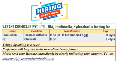 Vasant Chemicals Immediate Openings for Freshers and Experienced in Production QC