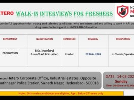 Hetero Labs Limited WalkIn Interviews for FRESHERS on 14th Mar 2021