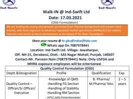 Ind swift Ltd Walk in for QC Formulation osd on 17th mar 2021