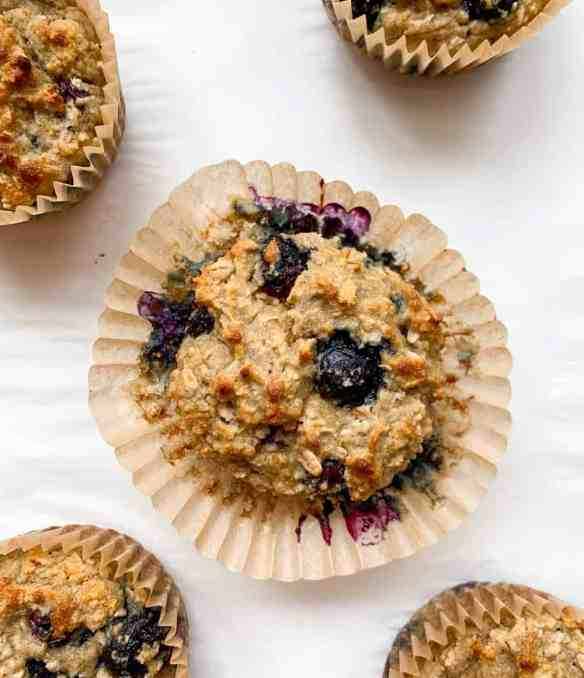 healthy banana lemon blueberry muffins