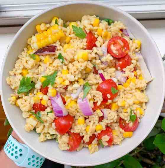 healthy summer vegetable rice salad