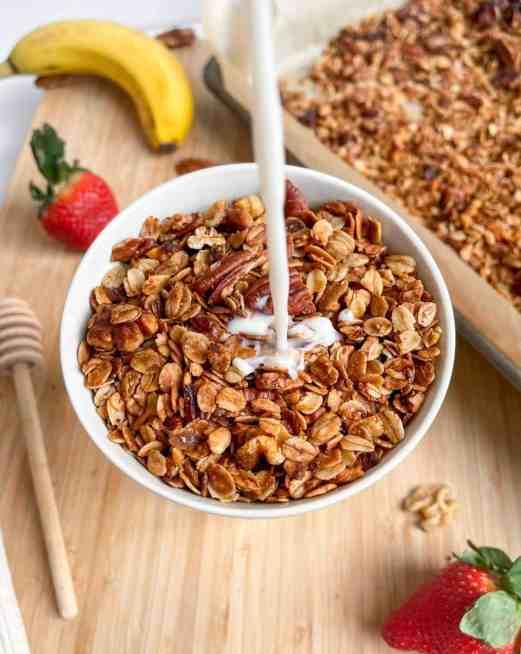 best ever nutty homemade granola, milk granola shot