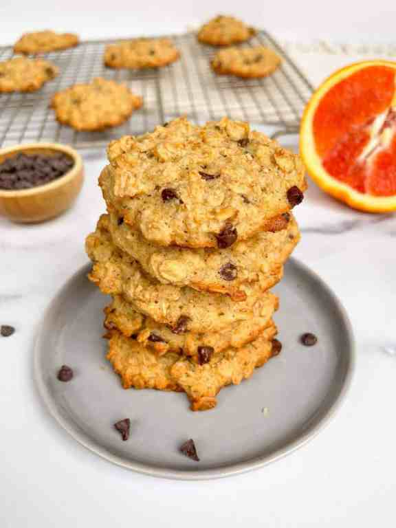 Stack of Chewy Orange Chocolate Chip Oatmeal Cookies