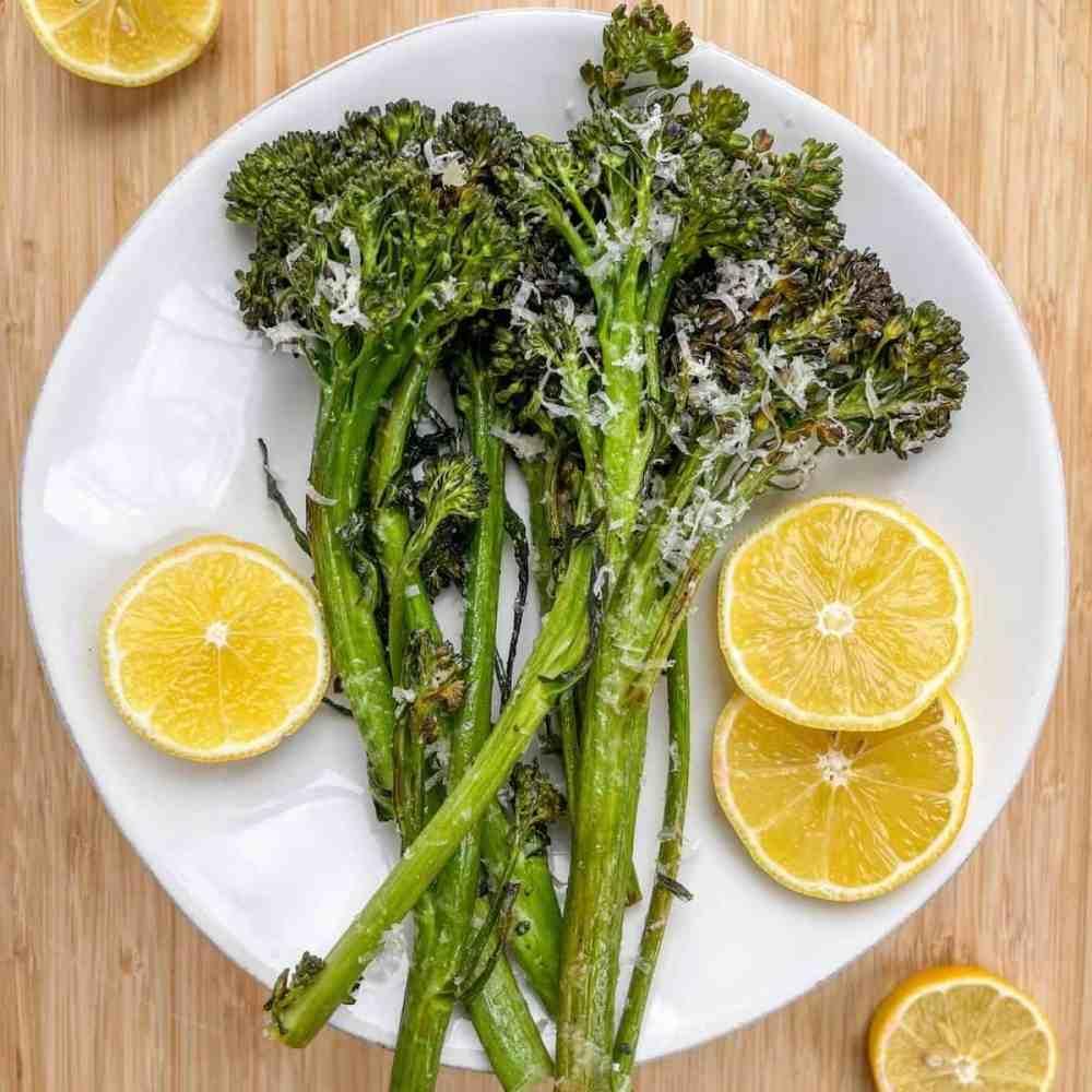 Best Ever Crispy Oven Baked Lemon Parmesan Broccolini - recipe by Healthful Blondie
