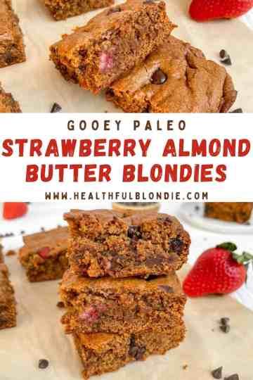 GOOEY & HEALTHY paleo strawberry almond butter blondies - recipe by Healthful Blondie.