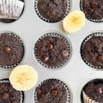 Healthy mini double chocolate chip banana muffins that taste like chocolate cupcakes and naturally sweetened with maple syrup.