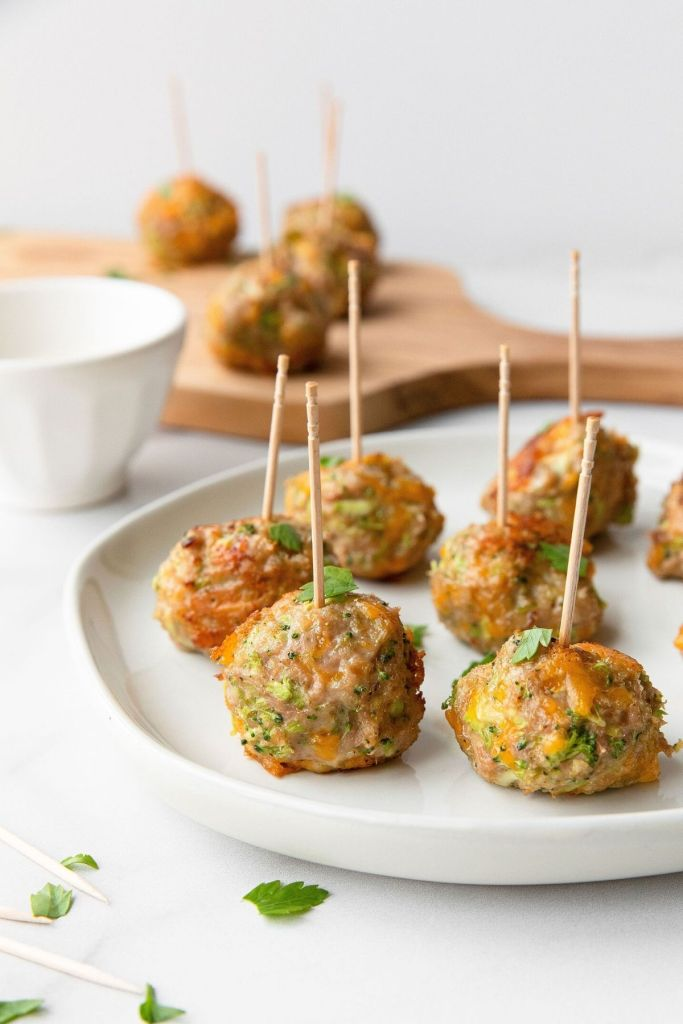 Cheddar cheese turkey meatball skewers. Made healthy with riced broccoli for an easy side dish or appetizer.