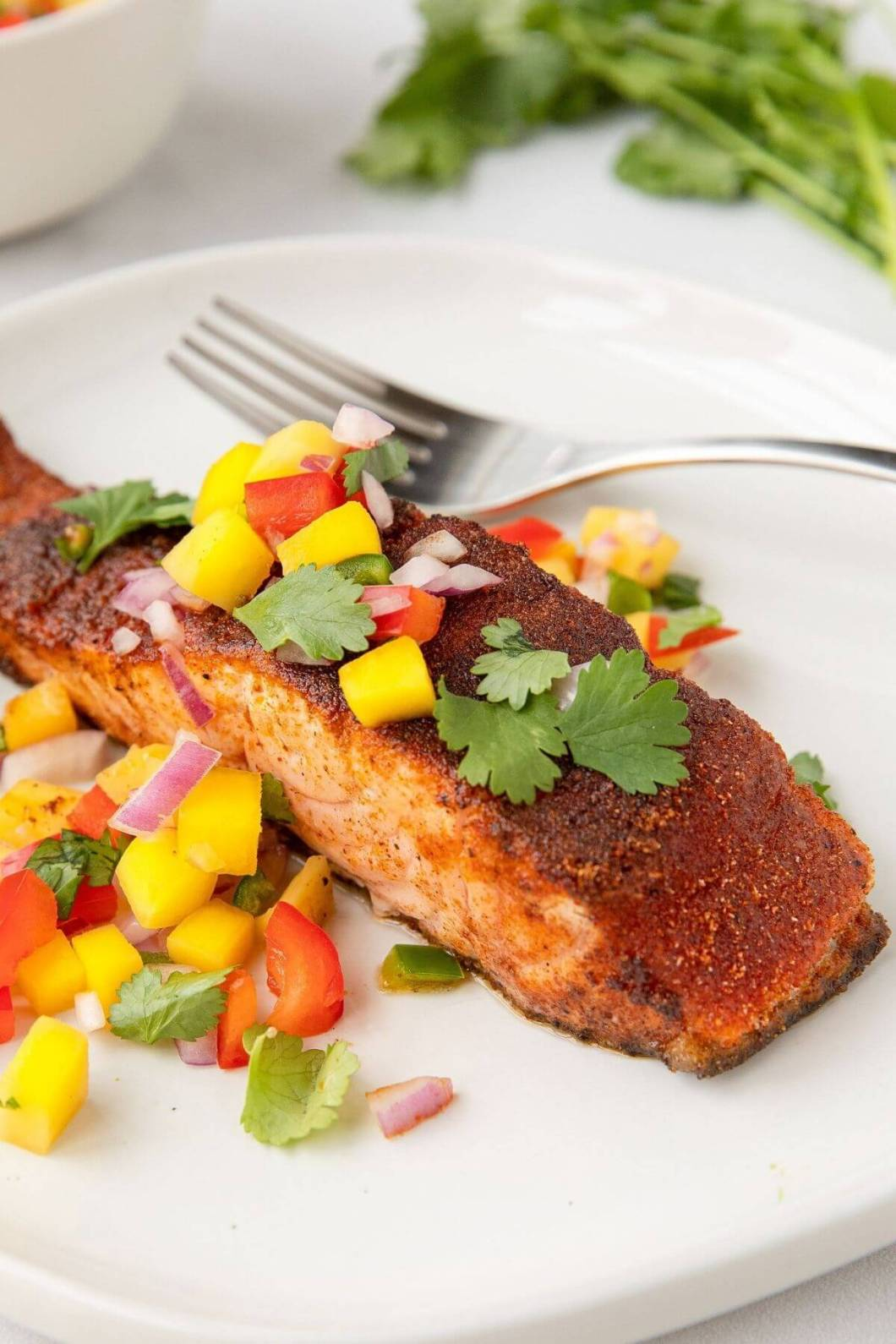 healthy air fried blackened salmon with cilantro lime mango salsa