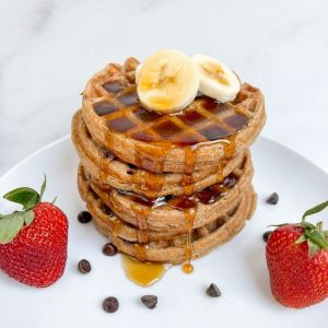 Stack of vegan flourless banana oat waffles