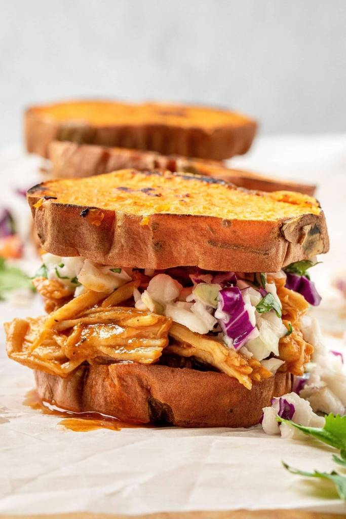 healthy loaded barbecue chicken sweet potato sliders