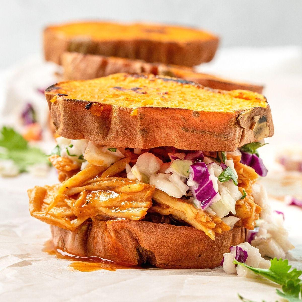 Healthy BBQ shredded chicken sweet potato sliders