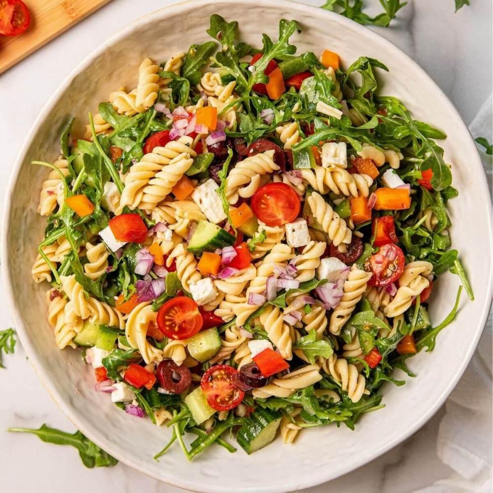 best ever healthy Greek pasta salad