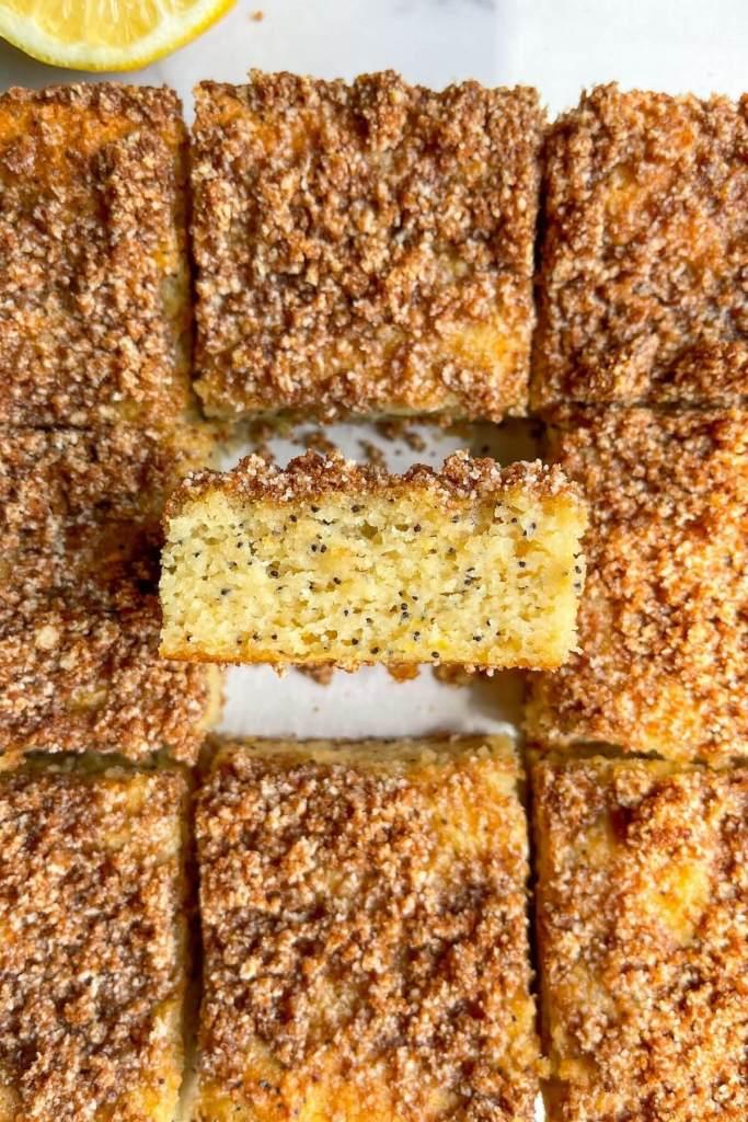 Texture of super moist healthy lemon poppy seed crumb cake