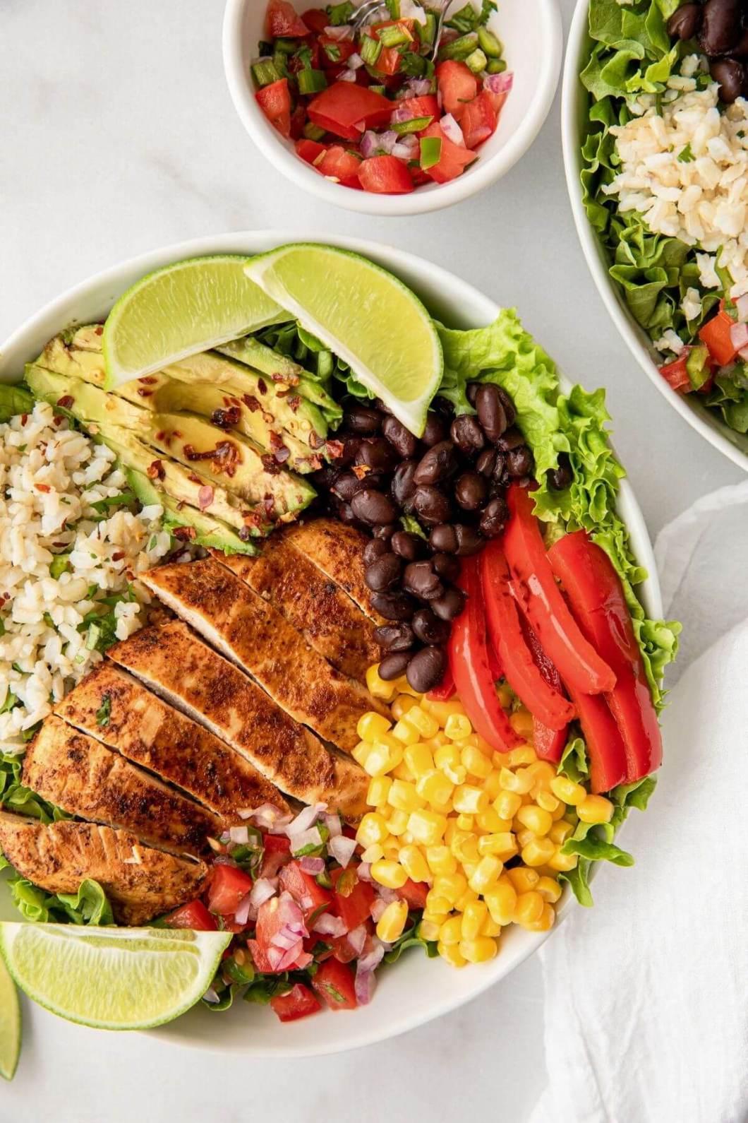 cilantro lime chicken rice burrito bowl