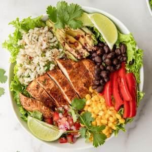 healthy mojito lime chicken fajita bowl