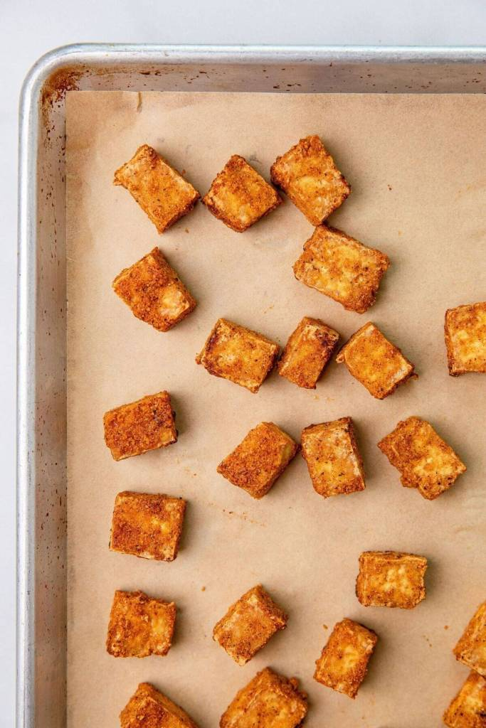 Oven baked crispy tofu on sheet pan