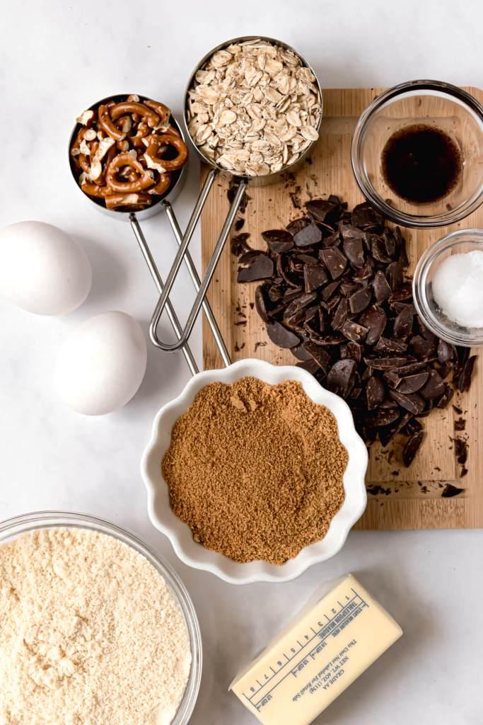 ingredients in healthy chocolate chip salted cowboy cookies