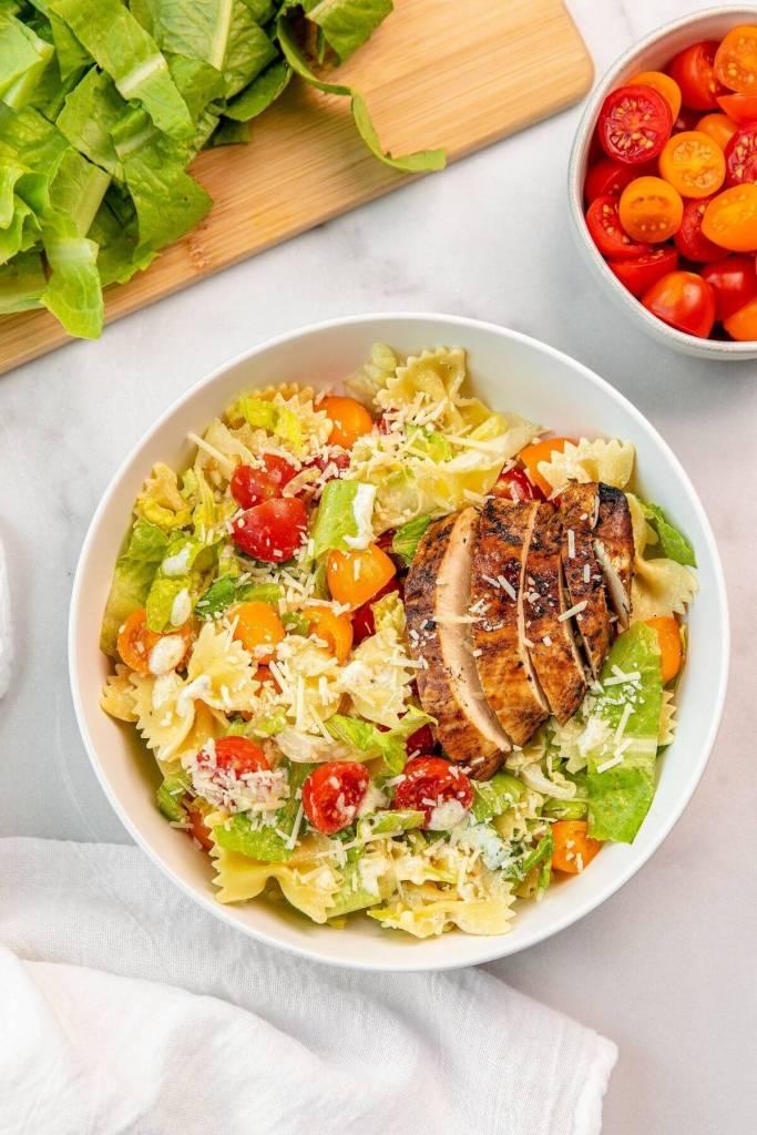 healthy chicken caesar pasta salad