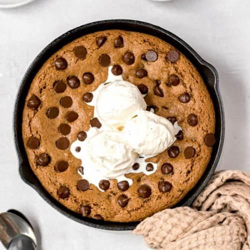 healthy gooey chocolate chip cookie skillet recipe