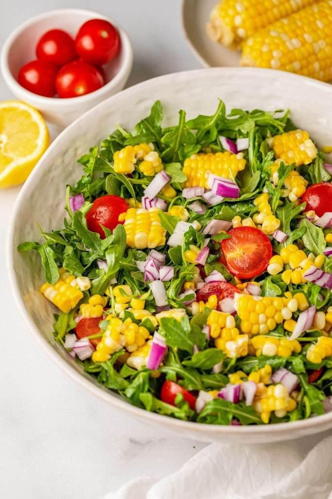 close up of fresh sweet corn salad