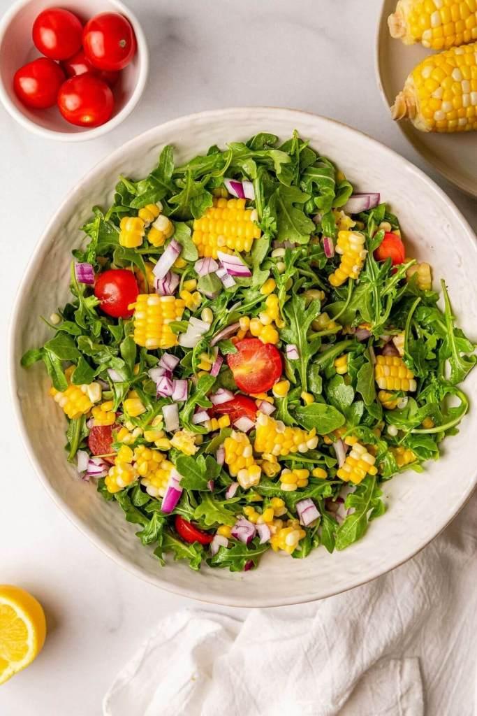 corn tomato and arugula salad