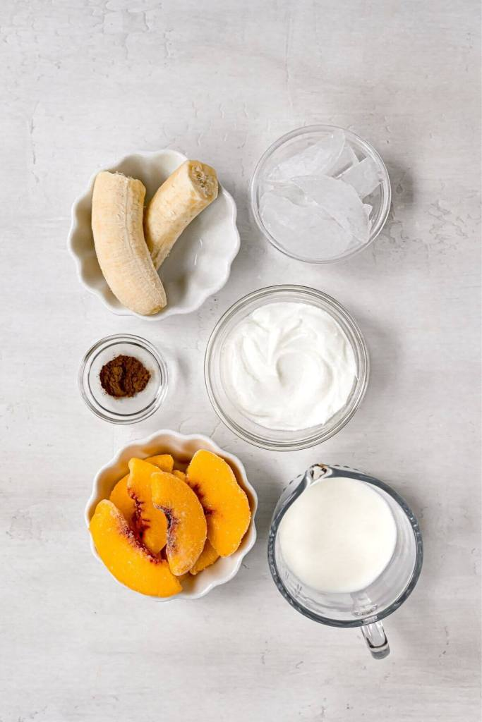 ingredients in peach and banana smoothie