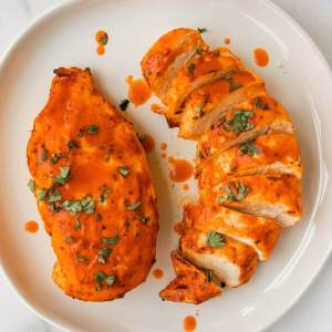 healthy air fried buffalo chicken breasts