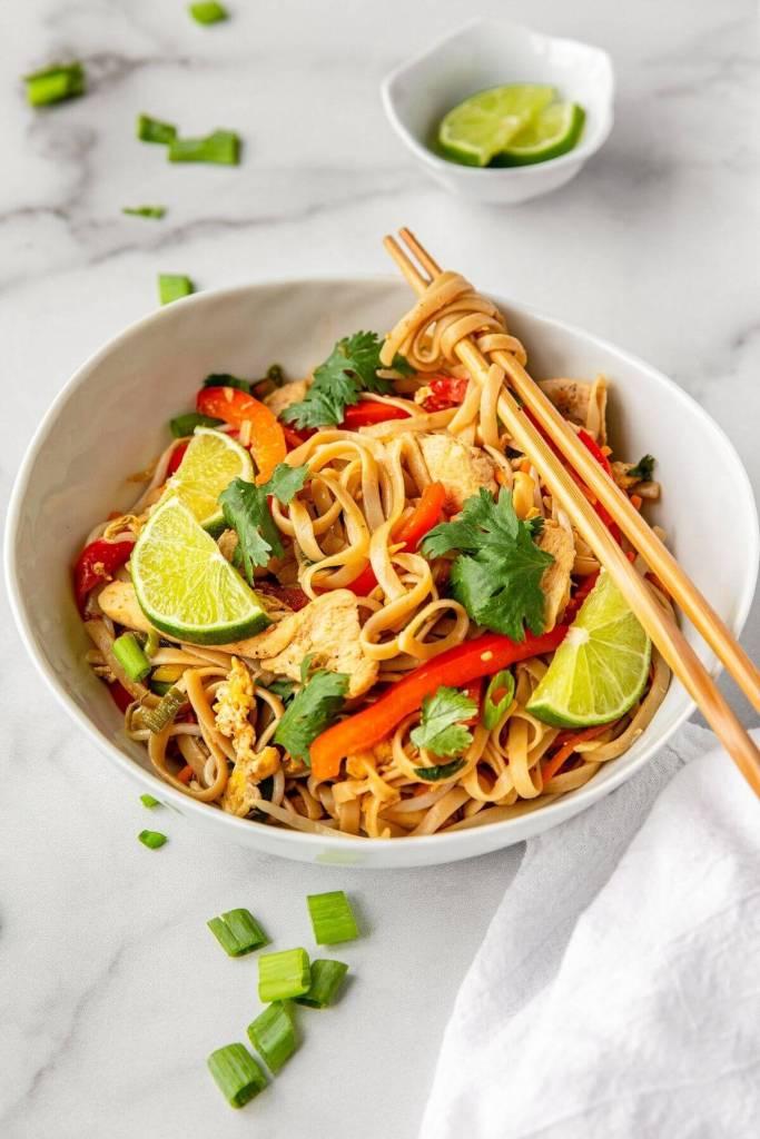 easy pad thai with chop sticks