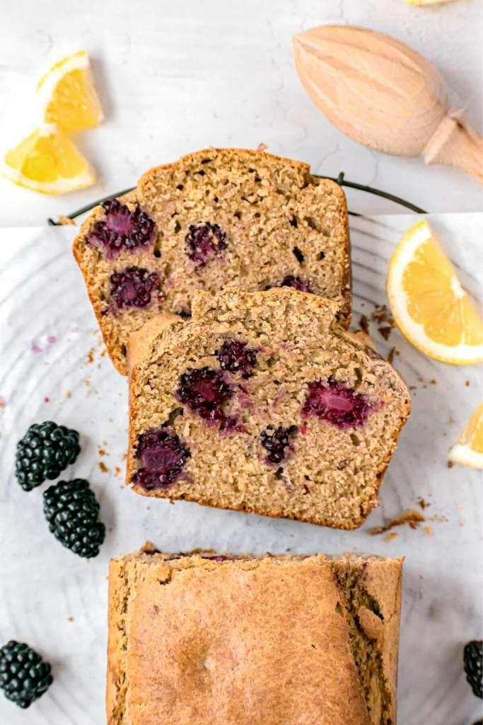 moist lemon bread with blackberries