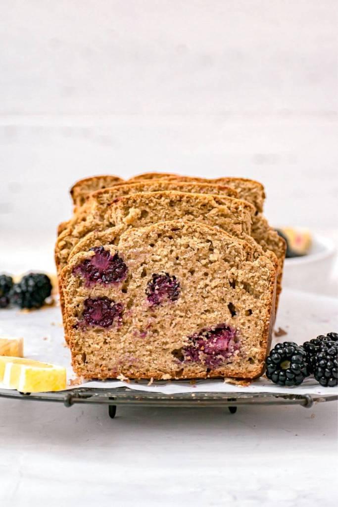 inside shot of lemon blackberry loaf