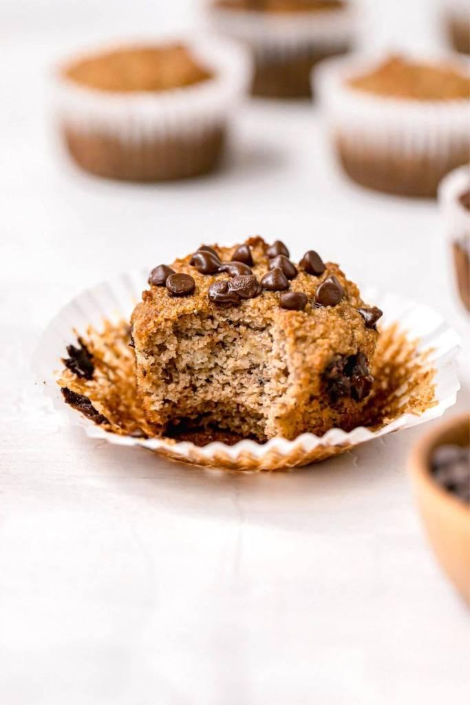 bite of gluten free banana muffin