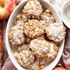healthy apple pie oatmeal cookies with maple glaze