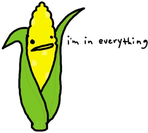 """Drawing of a corn stalk with the words written next to it: """"I'm in Everything."""""""