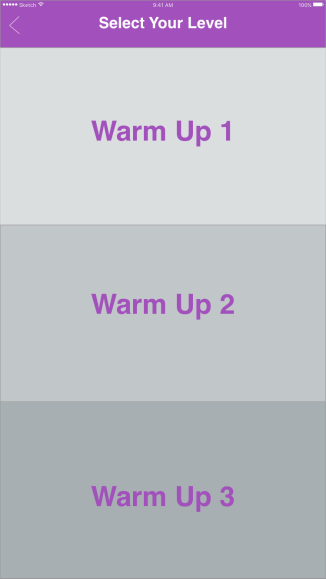 Warm up level selection