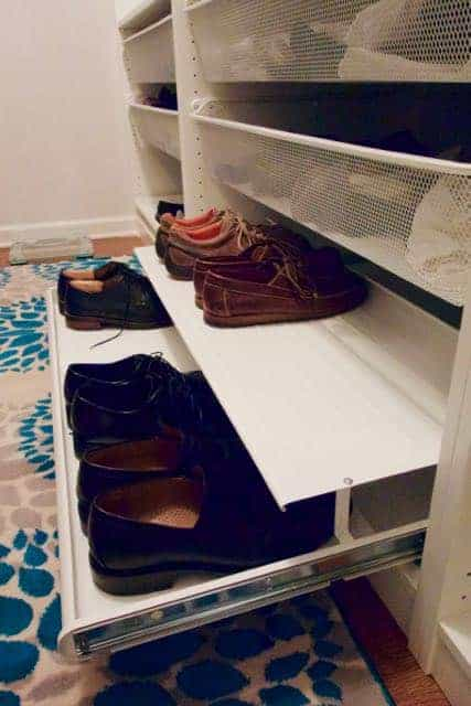 Take a look at this amazing master closet transformation. This closet went from dull and dingy to bright and functional by installing the IKEA Pax system.