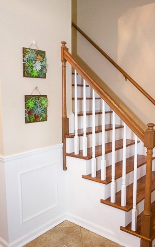 Check out our entryway makeover. A little bit of paint in the entryway, new decor, and a new look for the stairs made a world of difference.