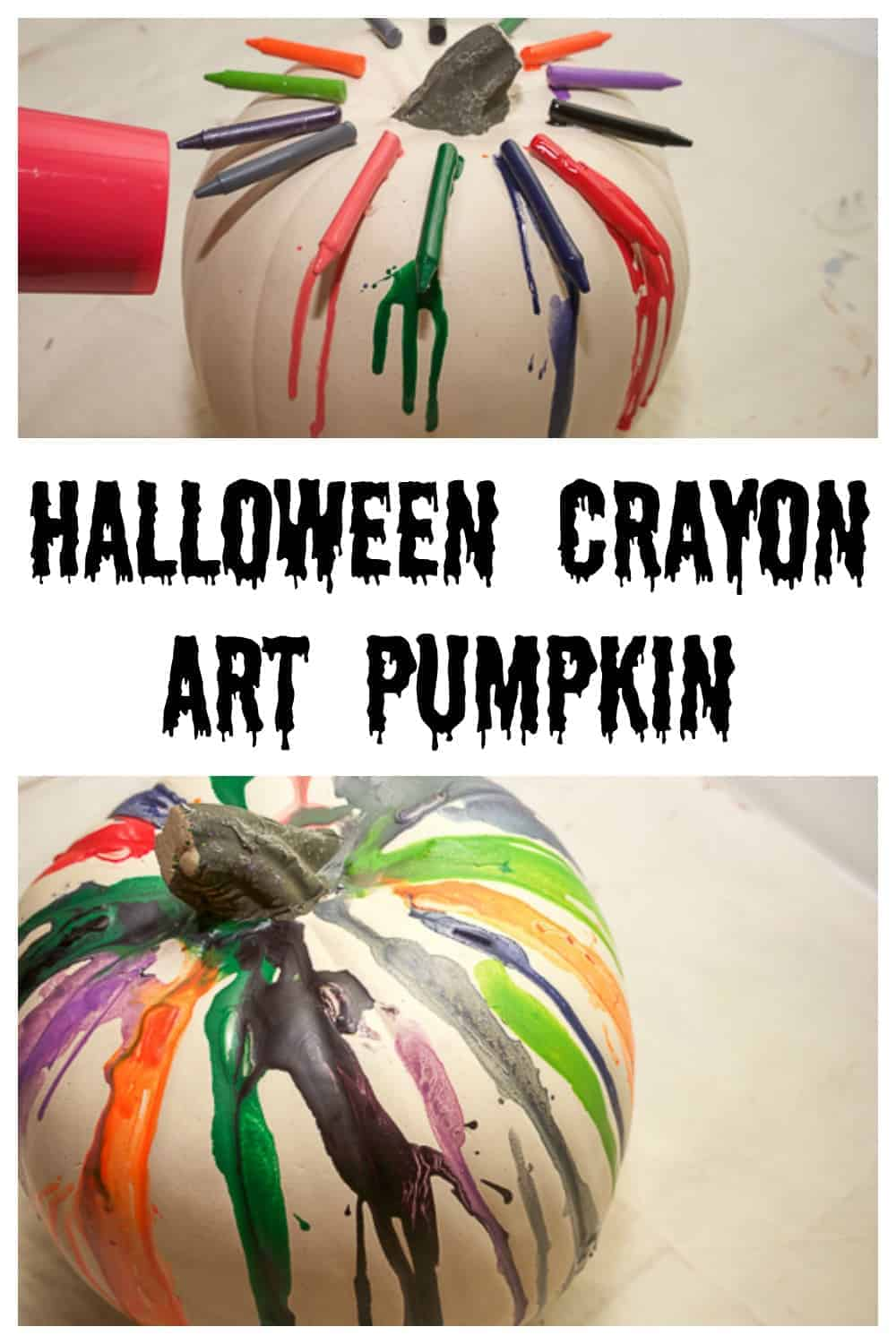 This DIY Halloween Crayon Art Pumpkin is unique, funky, and the perfect addition to your Halloween decor. It's also so fun to make.