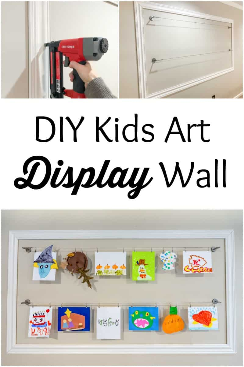 Let me show you how I easily created a large DIY kids art display wall.