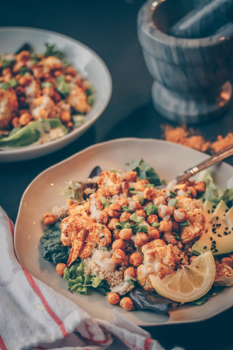 Curried Cauliflower & Chickpea Salad w/ Coconut Quinoa