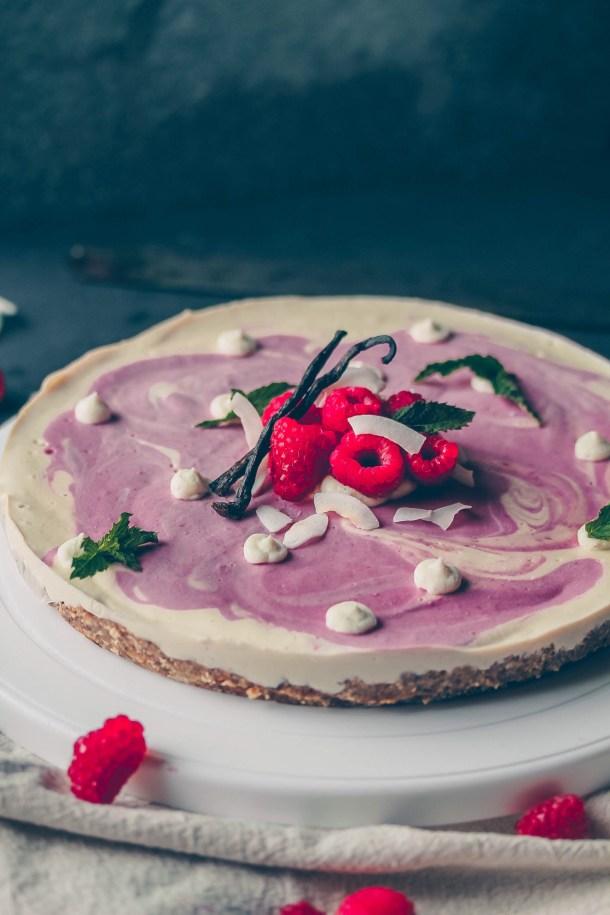 Vegan Raspberry Vanilla Bean Cheesecake