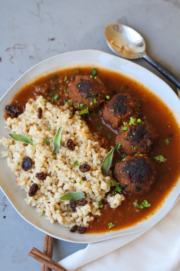 Mediterranean Meatballs with Spiced Rice